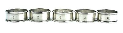 Antique Sterling Silver Napkin Rings Set of 5 Numbered Plain Birmingham 1919