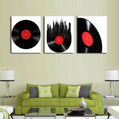 Abstract Old Black Record Canvas Wall Art Oil Painting Modern Home Room Decor