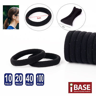 Hair Ties Thick Elastic Spandex Head Bands Soft Ponytail School Girls Women Blk