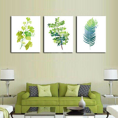 Fresh Abstract Green Leaves Canvas Wall Art Oil Painting Modern Home Room Decor