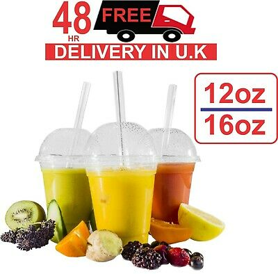 1000 Smoothie Cups And Dome Lids 12/16oz Clear Party Milkshake Juice Sweets UK