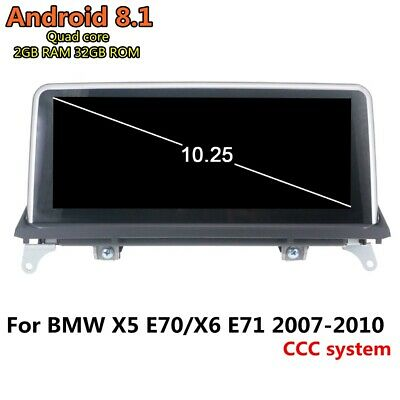 """Car GPS Navigation 10.25"""" Android 8.1 BT For BMW X5 E70/X6 E71 2007-2010 CCC"""