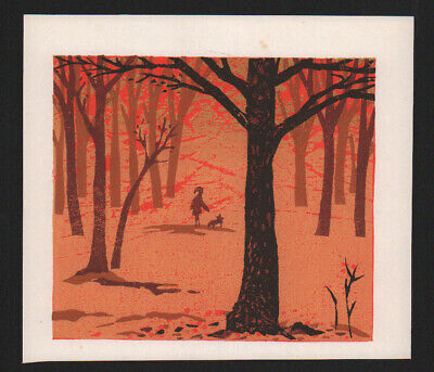 NUNOMURA SHIN-ICHI Original Japanese Woodblock Print WALK IN THE WOODS