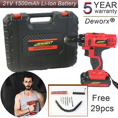 21V Lithium Ion Cordless Drill Impact Driver Screwdriver Driver In Case + Led