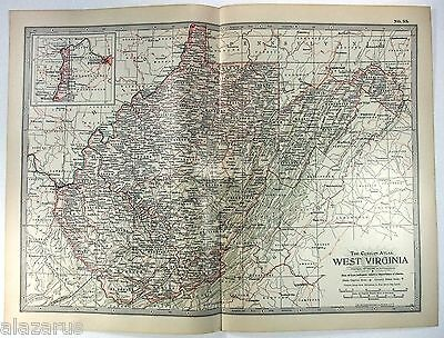 Original 1902 Map of West Virginia by The Century Company
