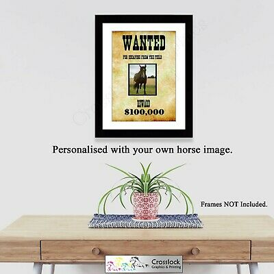 Personalised Wanted Pet Animal Photo Poster Print ONLY cat dog A4 Wall Art