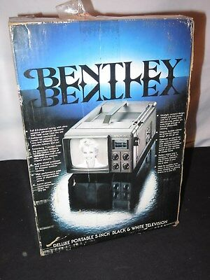 "Vintage Portable Bentley Black & White Tv Television 5"" New In Box (K821)"