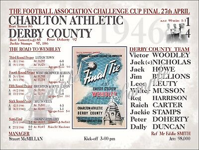 Derby County Football Programmes Sign 1946 Fa Cup Final Derby County Shirt