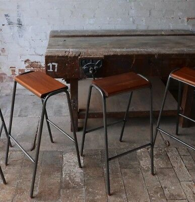 Vintage Retro Industrial School Stacking Lab Cafe Kitchen Bar Stools 72cm