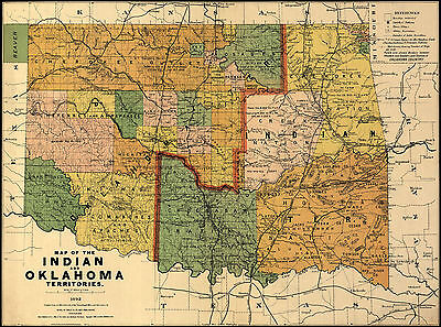 1892 Map Indian and Oklahoma territories Native Americans Wall Poster History