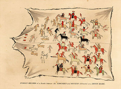 1823 War Map Indian Battle Between the Pawnees and Konzas North America Poster