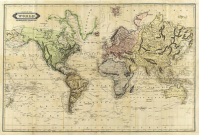 1831 Map Chart of the World on Mercator's Projection Wall Poster Decor Old Look