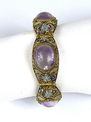 älteres Armband - wohl China - Amethyste + florale Emaille - Silber vergoldet