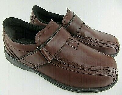 a1140cb35b ORTHOFEET Men's Lincoln Center BROWN Hook & Loop Oxford ORTHOPEDIC Size 9.5  4E