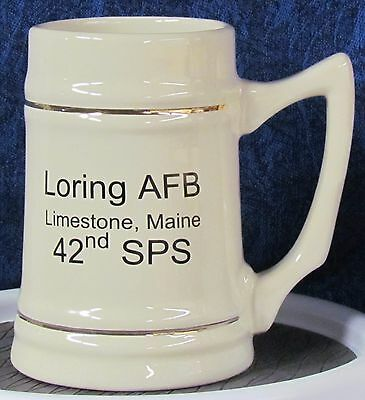 Loring AFB - 42nd SPS logo with SP Shield on 24 oz Beer Stein w/ Gold Bands