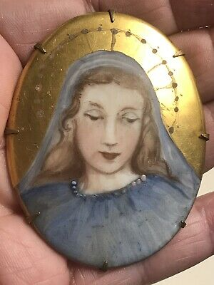 Beautiful Antique Large Hand Painted on Porcelain- Virgin Mary with Halo - Pin