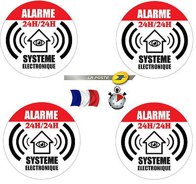 4x sticker autocollant maison sous alarme surveillance video camping car systeme