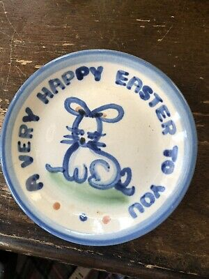 M.A. HADLEY Pottery Mini Plate A VERY HAPPY EASTER Coaster SIGNED 4""