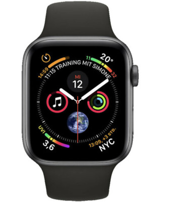 Apple Watch Series 4 GPS Space Grau, 44 mm Aluminiumgehäuse mit Sportarmband