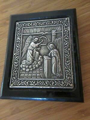 Antique .999 Sterling Silver Greek Religious Icon Mary & Angel Picture *rare*