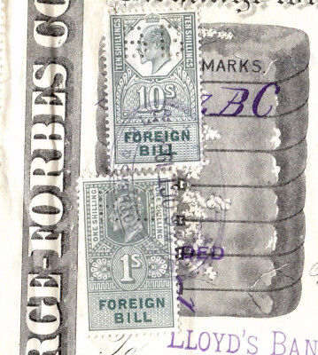 FF51 1904 GB *REVENUE PERFINS* Ullustrated Document Foreign Bill 11s Exchange