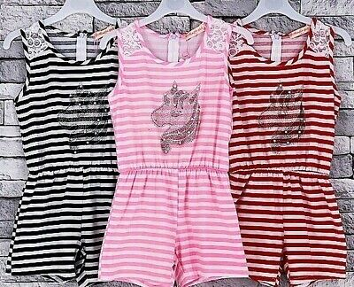 Girls kids Playsuit Summer Jumpsuit Unicorn motif  casual outfit set 4to14 years