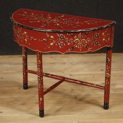 Small table console halfmoon shaped furniture wood painting red antique style