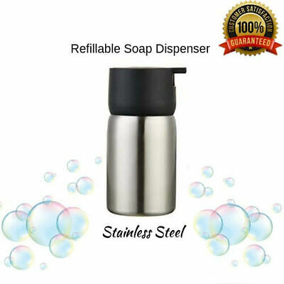 Stainless Steel Black Soap Dispenser Refillable Bathroom Decor Appliance Kitchen