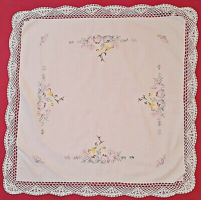 Vintage Easter Art Chickens Eggs Flowers Embroidery Lace Frame Cotton Tablecloth