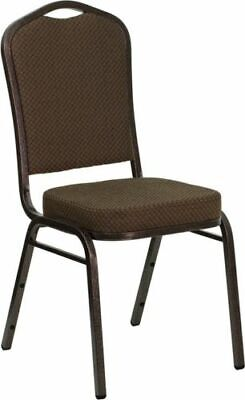 10 PACK Banquet Chair Brown Pattern Fabric Restaurant Chair Crown Back Stacking