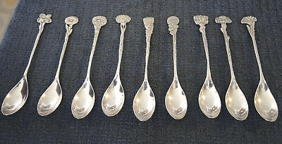 9 ANTIQUE DUTCH SILVER SPOONS HH COPY OF TIFFANY FLORAL PATTERN SPOONS 118 gms #