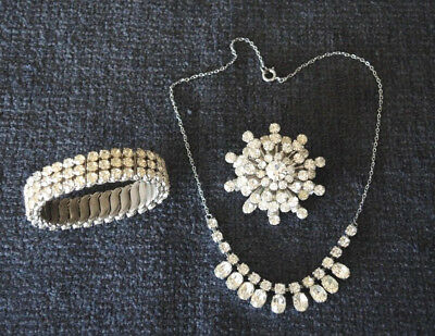 1950s EXPANDING AUSTRIA CLEAR RHINESTONE BANGLE, ROUND BROOCH + CHAIN NECKLACE