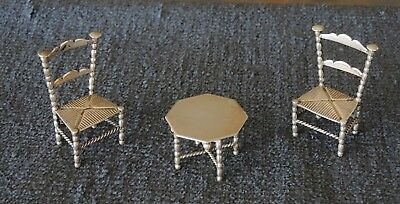 ANTIQUE DUTCH STERLING SILVER HH MINIATURE TABLE & 2 CHAIRS 42 gms #12