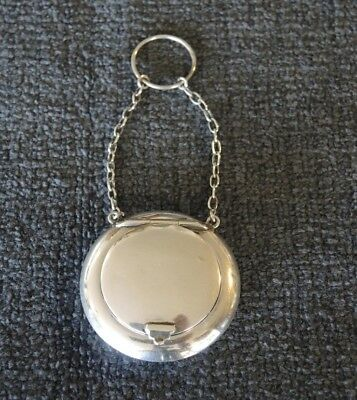 Antique 1913 Silver Chatelaine Finger Ring Compact Pill Box Mirror Gilded Inside
