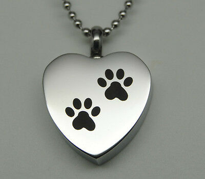Paw Prints Heart Urn Necklace || Dog or Cat Ashes Holder || Engraveable