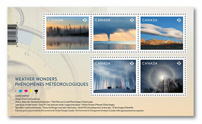 Stamp Pickers Canada 2018 Weather Wonders MNH Souvenir Sheet 5 x Permanent New