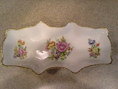 "Antique  Limoges France 11.5"" Vanity Tray Plate Roses Flowers Gilding"