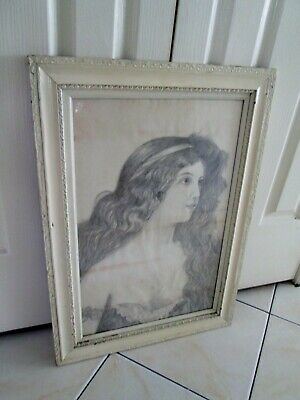 "Vintage 1910 Original Framed Pencil Sketch titled ""Honeysuckle"" by P. Gardiner"