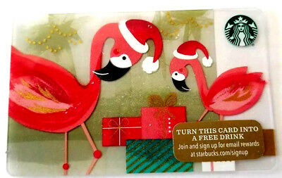 2015 STARBUCKS X-MAS Flamingo GIFT CARD NO VALUE MINT BILINGUAL RECHARGEABLE