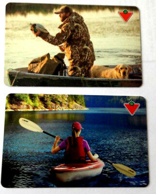 2X Canadian Tire Gift Card From Canada Bilingual No Value X2 Boat&fishing
