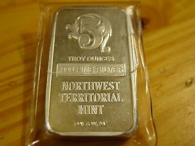 5 Troy Oz Northwest Territorial Mint Bar, 5 Troy Ounces Of .999 Fine Silver