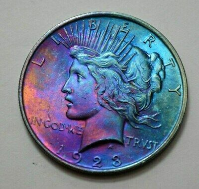1923-P  Peace Dollar Silver $1.00 US Coin, Toned,