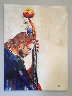 Original Painting Upright Double Bass Player Jazz Hot Springs Ar Music Festival