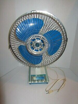 VINTAGE NOBILITY FAN 15-INCH OSCILLATING 3-SPEED w/ TRANSPARENT BLUE BLADE