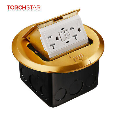 Pop-up Floor Outlet Box with Brass Cover, Round GFCI Receptacle Outlet