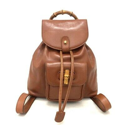 a5c0e003172 Vintage Authentic GUCCI Bamboo Handle Brown Leather Mini Back pack  e503