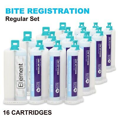 ELEMENT Bite Registration Material REGULAR Set 16 x 50ML Cartridges Dental PVS