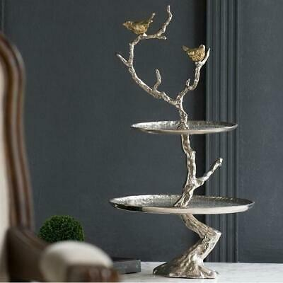 61cm Hight 2-Tier India Made Aluminum Serving Tray /  Bird Stand Tree Branches /