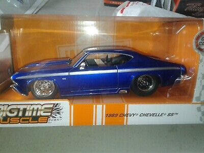 1970 Chevy Chevelle SS Coupe Die-cast Car 1:24 Jada Toys 8 inch Blue Race Stripe