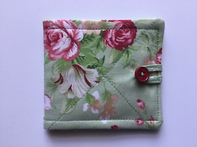 needlecase fabric Green floral Felt page inside Gift Present Needles Book